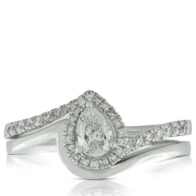 Pear Diamond Wedding Set 14K