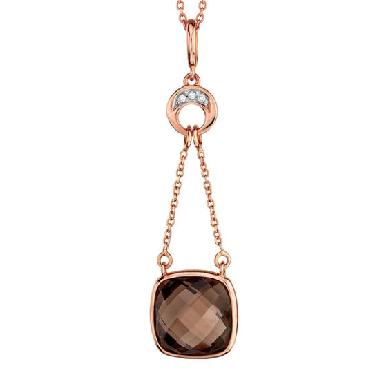 Smoky Quartz & Diamond Pendant 14K