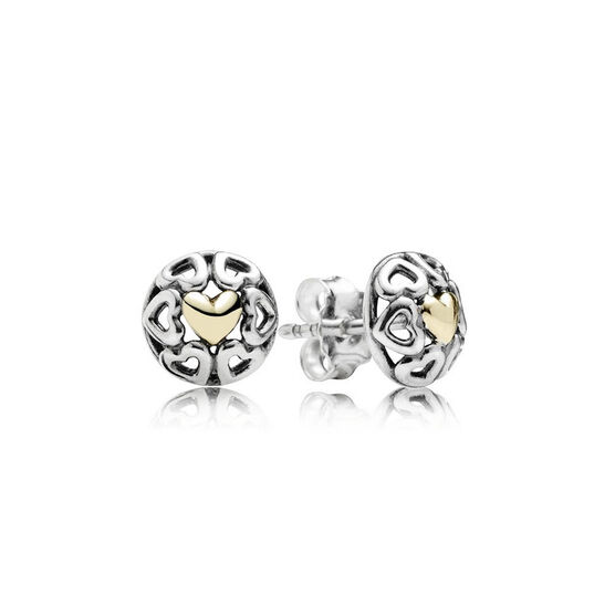 PANDORA My One True Love Earrings, Silver & 14K