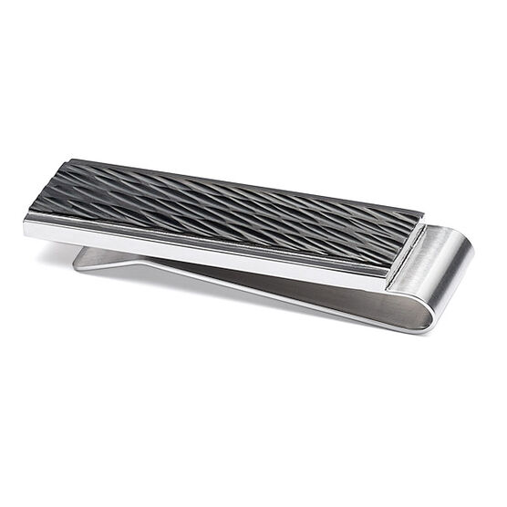 Diagonal Cut Money Clip in Stainless Steel