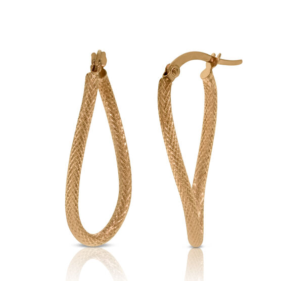 Curved Textured Hoop Earrings 14K