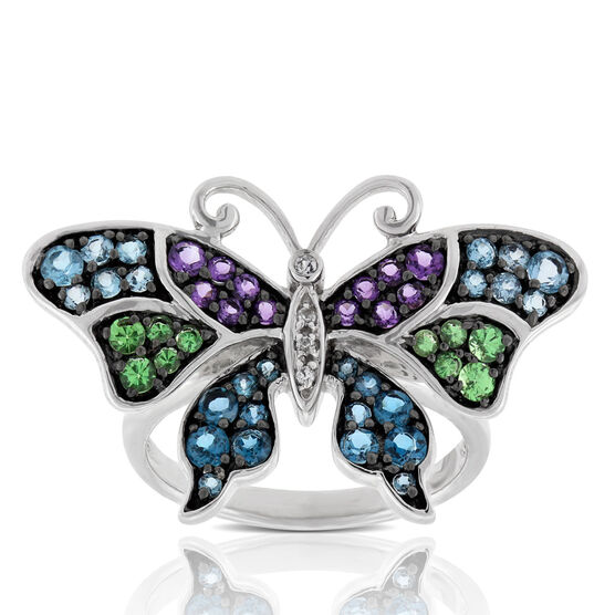 Gemstone Butterfly Ring 14K