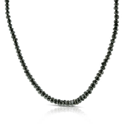 Black Diamond Bead Necklace 14K