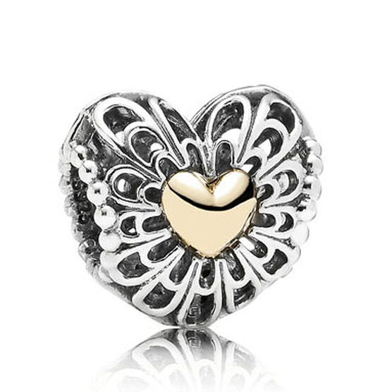 PANDORA Vintage Heart Charm, Limited Edition, Silver & 14K RETIRED