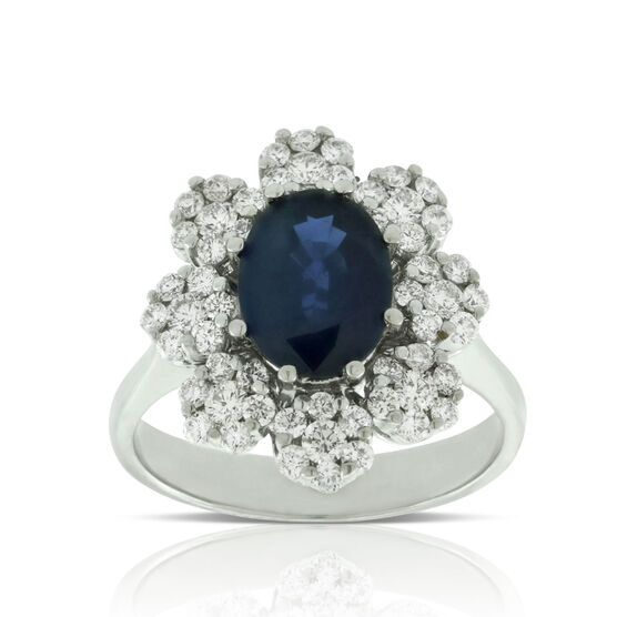 Sapphire & Diamond Bold Halo Ring 14K
