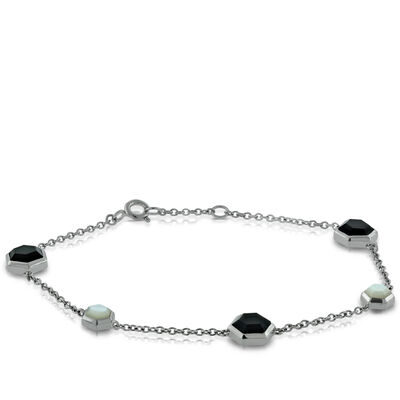 Lisa Bridge Onyx &  Mother of Pearl Bracelet