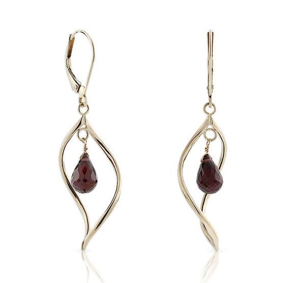 Garnet Twist Earrings 14K