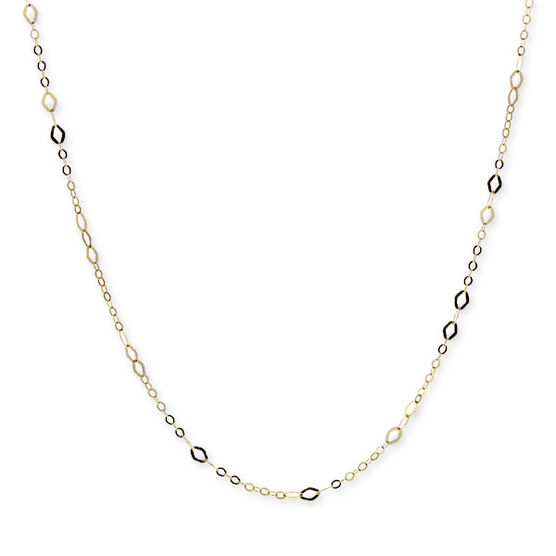 Link Chain with Marquise Stations 14K, 18""