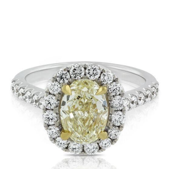 Oval Yellow Diamond Ring 18K