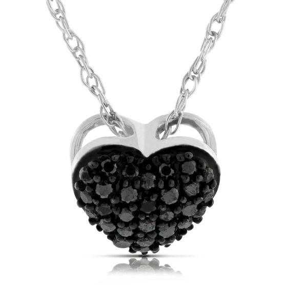 Black Diamond Heart Pendant 14K