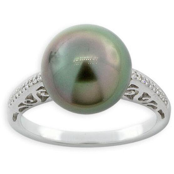 Tahitian South Sea Cultured Pearl & Diamond Ring 14K