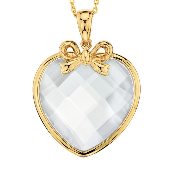 White Quartz Heart Pendant 14K