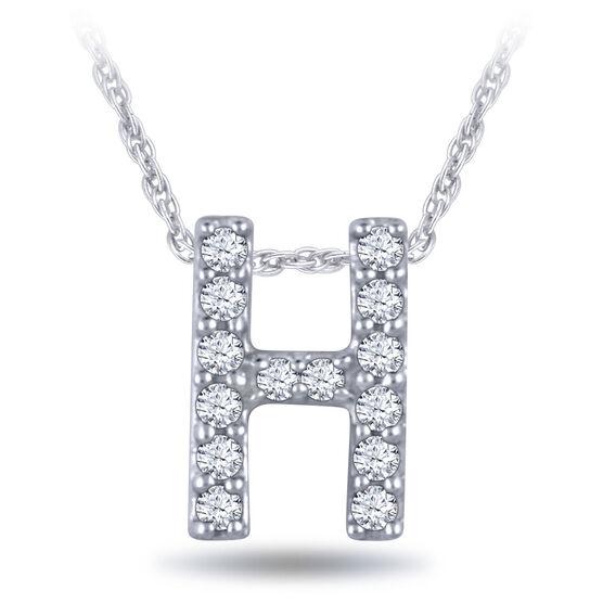 Diamond Initial Pendant 14K Letter 'H'