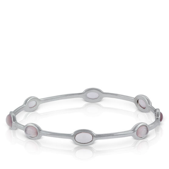 Lisa Bridge Rose Quartz Station Bangle Bracelet