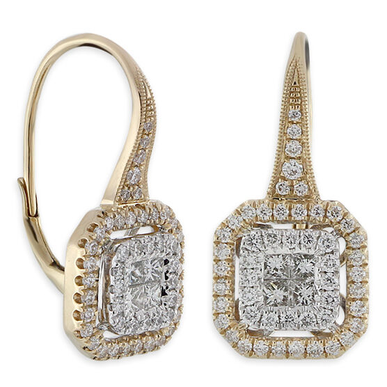 Pave Diamond Earrings 14K