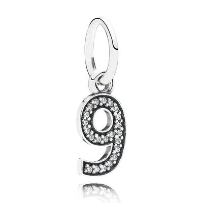 PANDORA CZ Dangle '9' Charm