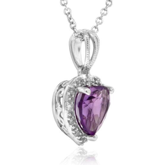 Amethyst & Diamond Heart Pendant 14K