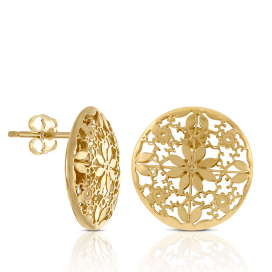 Floral Lace Stud Earrings 14K