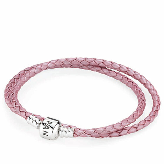PANDORA Pink Leather Clasp Bracelet