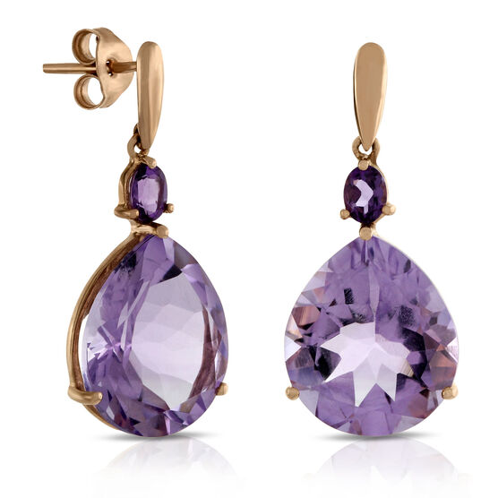 Rose Gold Amethyst Drop Earrings 14K