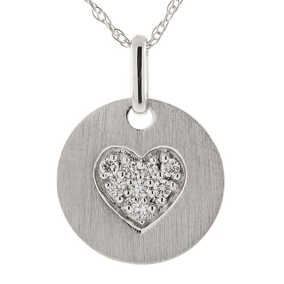 Diamond Heart Medallion Pendant 14K