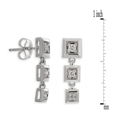 Diamond Square Drop Earrings in Sterling Silver