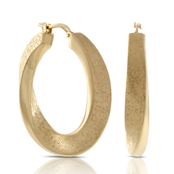 Twisted Hoop Earrings, 18K over Sterling Silver