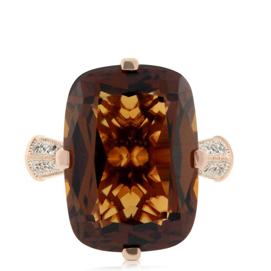 Honey Citrine & Diamond Ring 14K