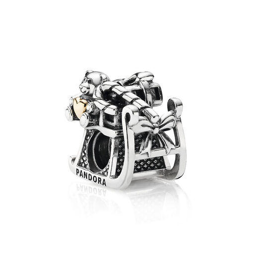 PANDORA Dashing Through The Snow Charm, Silver & 14K