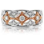 Rose & White Gold Filigree Diamond Band 14K