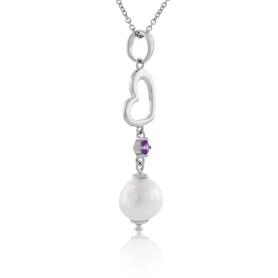 Freshwater Cultured Pearl & Amethyst Pendant 14K