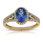 Rose Gold Tanzanite & Diamond Ring 14K