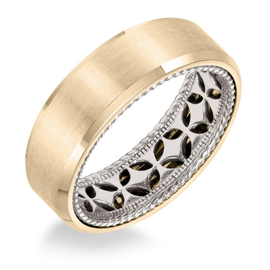 ArtCarved White Inside Yellow Outside Gold Band 14K