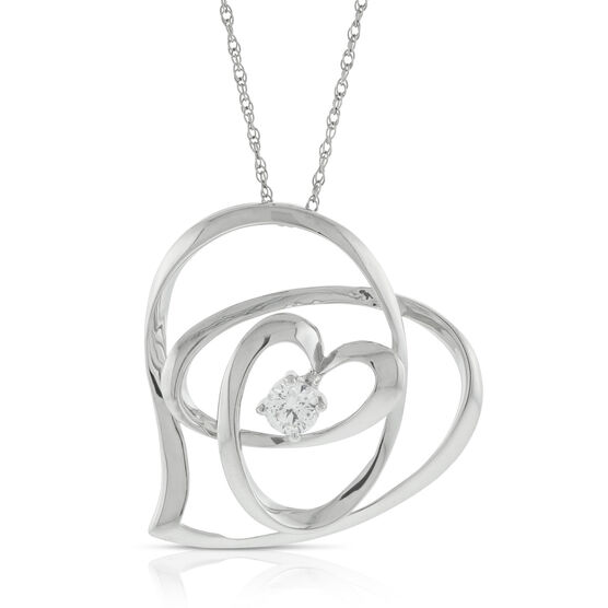 Freeform Diamond Heart Pendant 14K