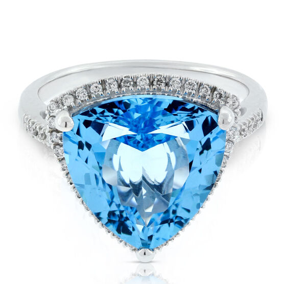 Trilliant Blue Topaz & Diamond Ring 14K