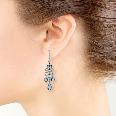 Mixed Cut Blue Topaz Chandelier Earrings 14K