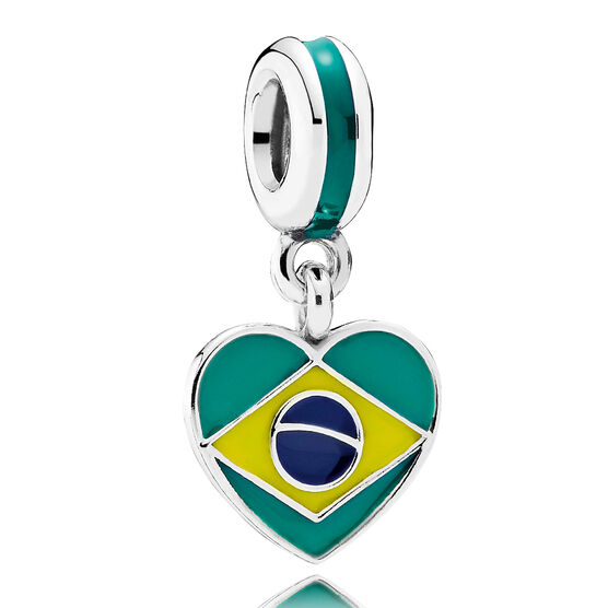 PANDORA Brazil Heart Flag Dangle Charm