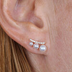 Rose Gold Cultured Pearl & Diamond Earrings 14K