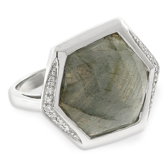 Lisa Bridge Hexagonal Labradorite & Diamond Ring