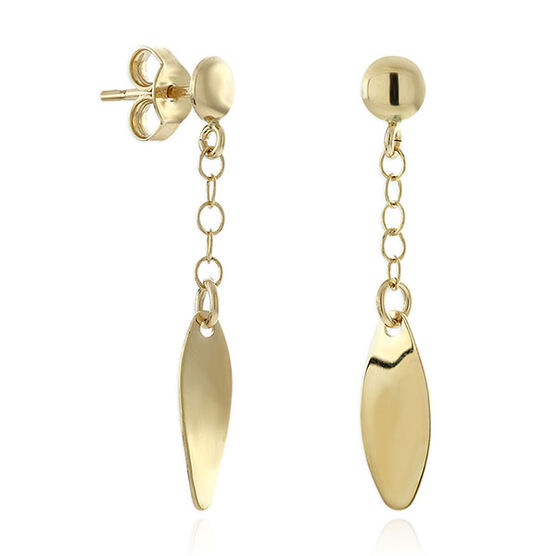 Polished Oval Dangle Earrings 14K