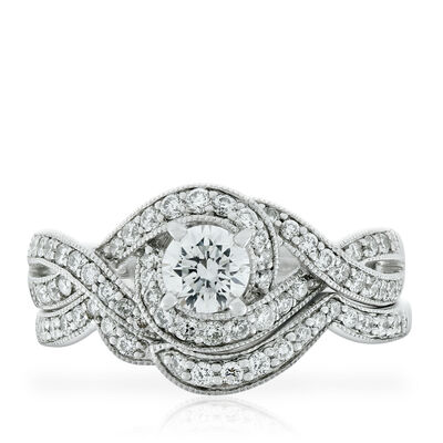 Crossover Diamond Wedding Set 14K