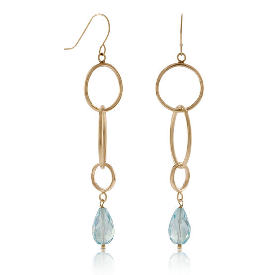 Blue Topaz Dangle Earrings 14K