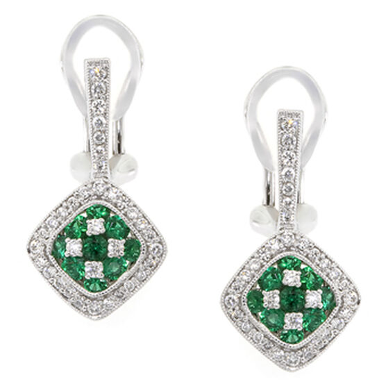 Emerald & Diamond Earrings 18K