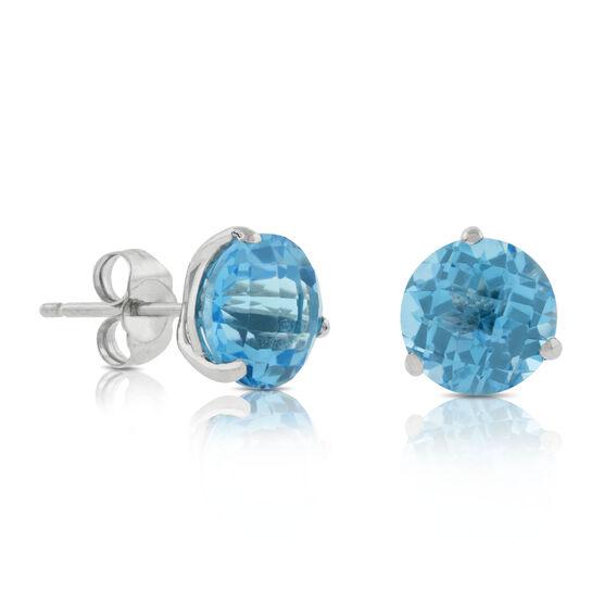 Checkered Cut Blue Topaz Earrings 14K