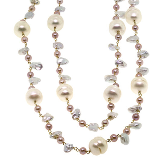 """Freshwater Cultured Pearl Necklace 14K, 36"""""""