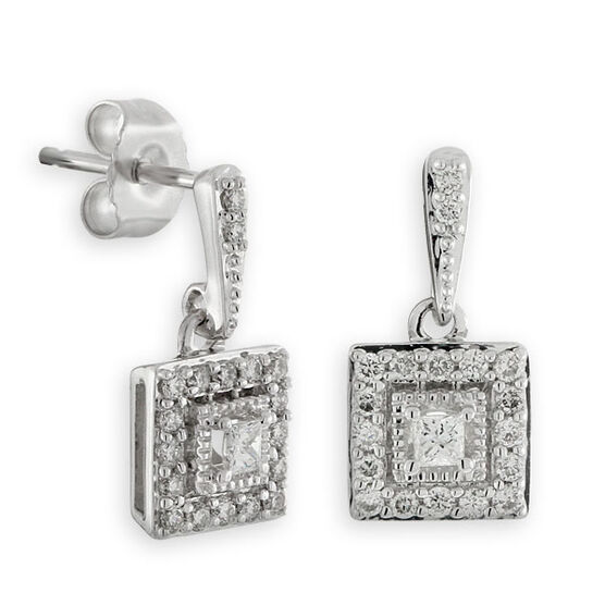 Diamond Square Dangle Earrings 14K