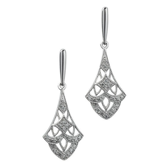 Filigree Diamond Drop Earrings 14K