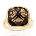 Cushion Cut Smoky Quartz Ring 14K