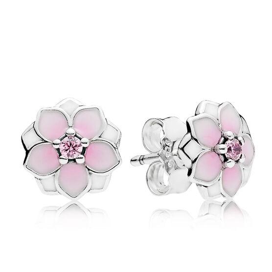 PANDORA Magnolia Bloom Enamel & CZ Earrings