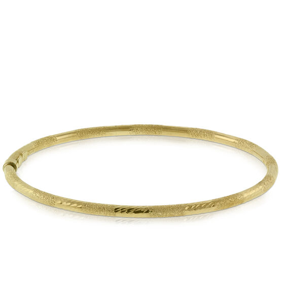 Diamond Cut Bangle Bracelet 14K